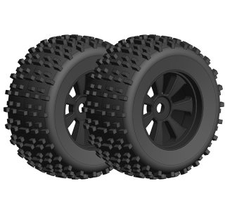 Team Corally C-00180-378 Off-Road 1/8 Monster Truck Tires - Black Rims - 1 pair